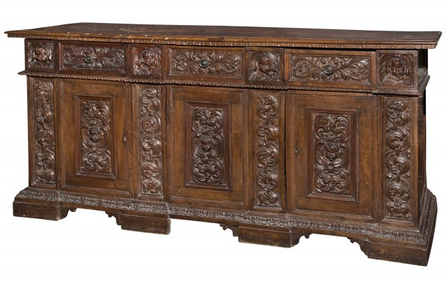 Continental Baroque Carved Walnut Cabinet