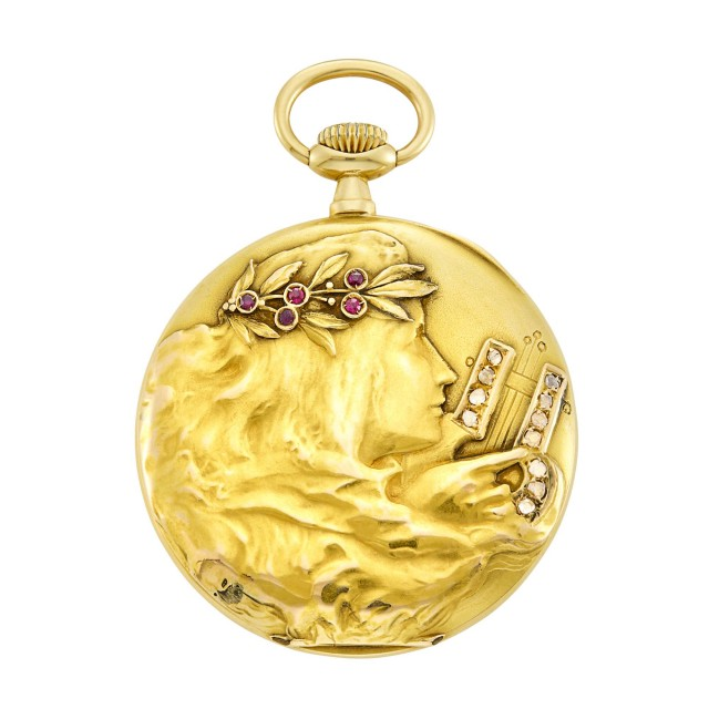 Art Nouveau Gold, Ruby and Diamond Open Face Pocket Watch