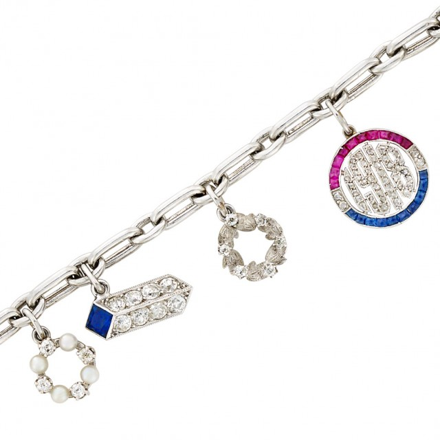 Platinum, Diamond, Gem-Set and Pearl Charm Bracelet