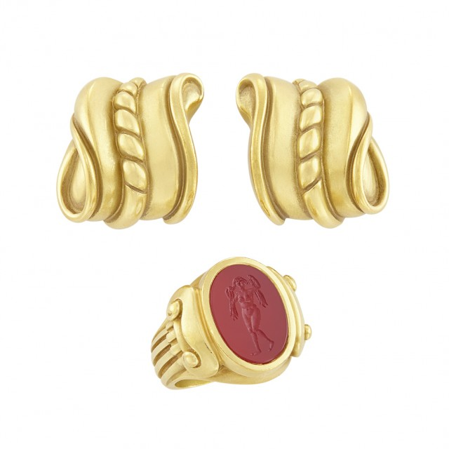 Pair of Gold Earclips and Gold and Carnelian Intaglio Ring, Barry Kieselstein-Cord