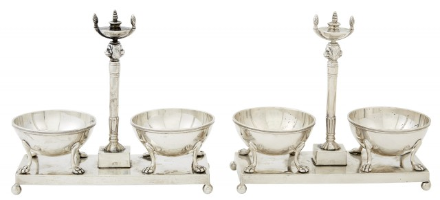 Pair of George III Sterling Silver Double Open Salt Cellars