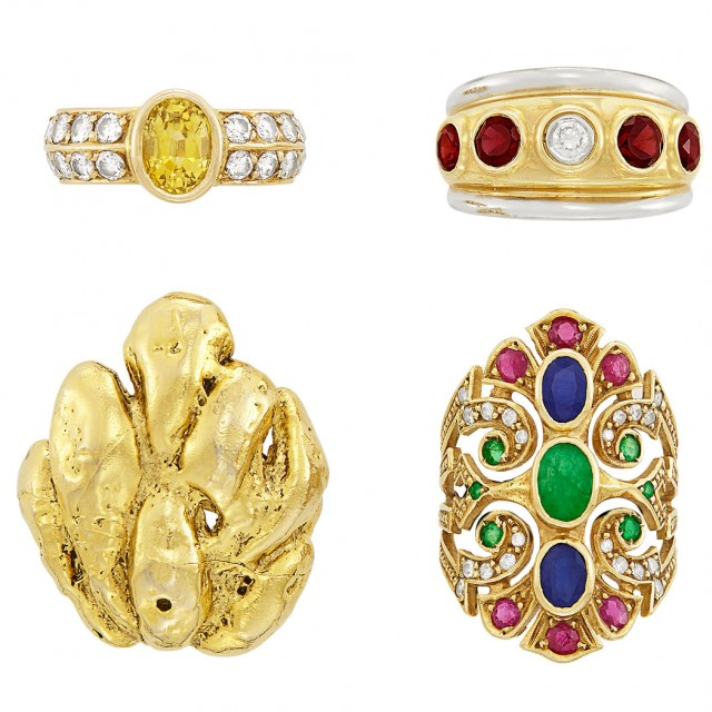 Three Gold, Gem-Set and Diamond Rings and Hammered Gold Ring