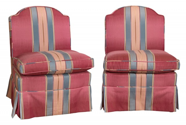Pair of Striped Upholstered Slipper Chairs
