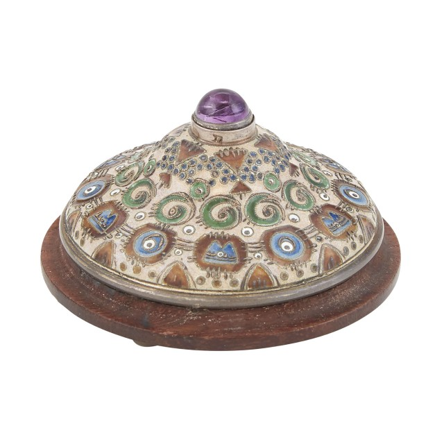 Russian Silver and Cloisonné Enamel Bell Push