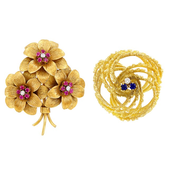 Gold, Ruby and Diamond Flower Brooch, Tiffany & Co., and Gold, Sapphire and Diamond Brooch
