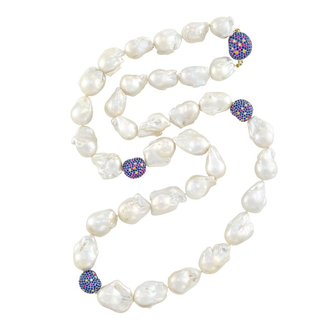 Baroque South Sea Cultured Pearl, Two-Color Gold, Sapphire, Ruby and Colored Diamond Necklace