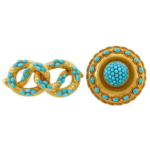 Two Antique Gold and Turquoise Pins