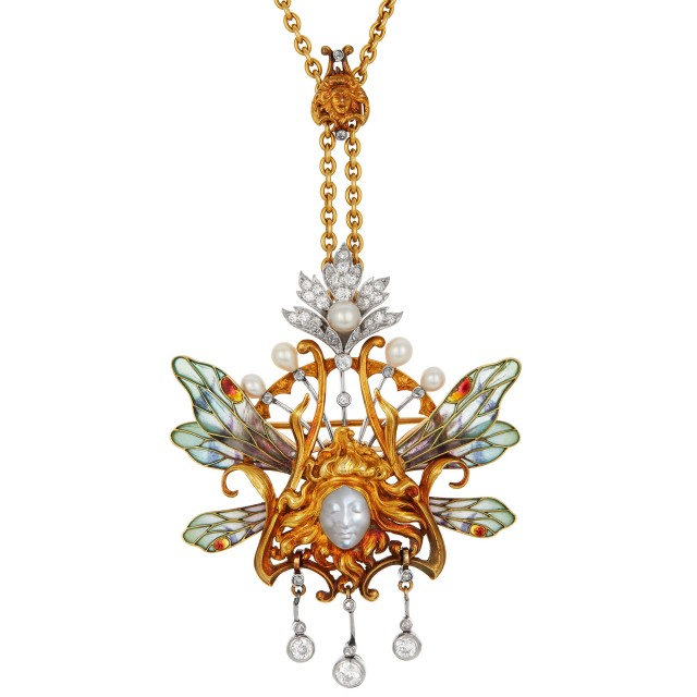 Art Nouveau Gold, Platinum, Carved Moonstone, Diamond, Pearl and Plique-à-Jour Pendant with Chain, Louis Aucoc, France