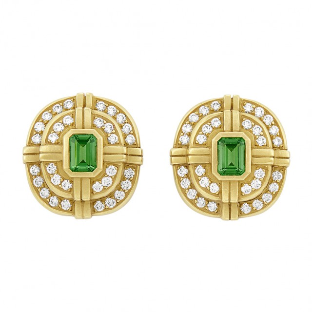 Pair of Gold, Tourmaline and Diamond Earclips, Barry Kieselstein Cord
