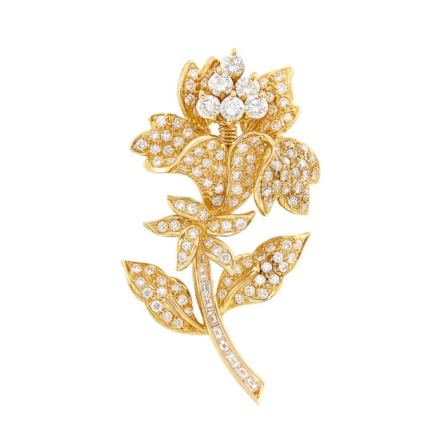 Gold and Diamond Flower \'En Tremblant\' Brooch