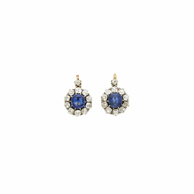 Pair of Antique Gold, Platinum, Sapphire and Diamond Earrings, France