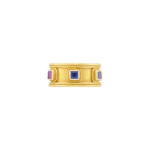 High Karat Gold and Multicolored Sapphire Band Ring, Reinstein/Ross