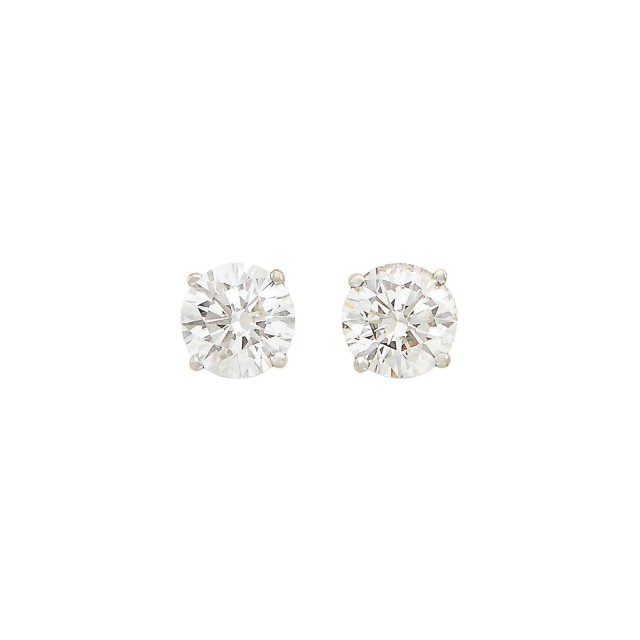 Pair of Platinum and Diamond Stud Earrings