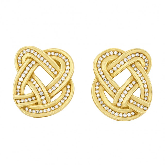 Pair of Gold and Diamond Pretzel Earclips, Tiffany & Co.