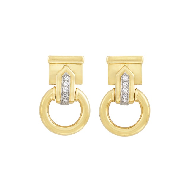 Pair of Gold and Diamond Door Knocker Earclips, Adriano Chimento