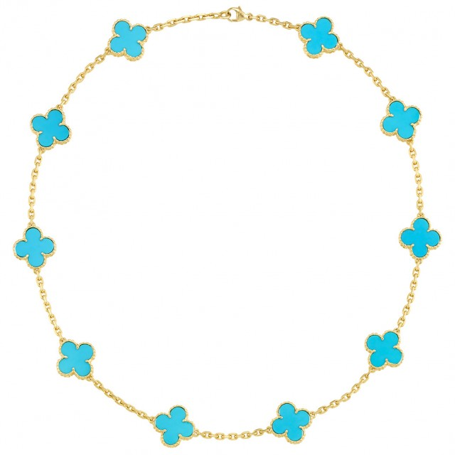 Gold and Turquoise and#39;Alhambraand#39; Necklace, Van Cleef and Arpels