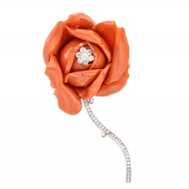 Platinum, Gold, Carved Coral and Diamond Rose Brooch