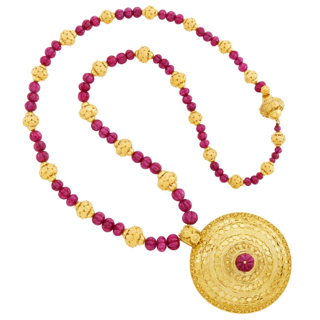 Gold and Fluted Ruby Bead Pendant-Necklace