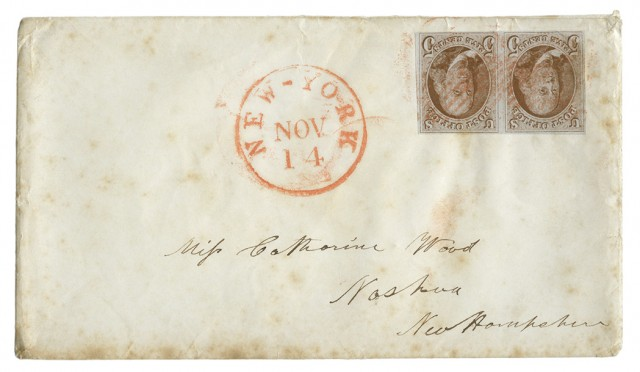 United States 1847 5 Cents Pair on Cover, Scott 1