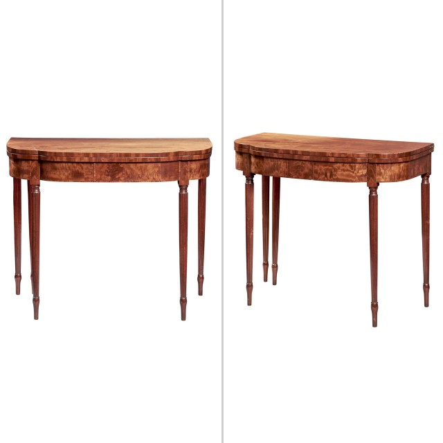 Pair of Federal Carved and Veneered Mahogany Card Tables, Attributed to Duncan Phyfe
