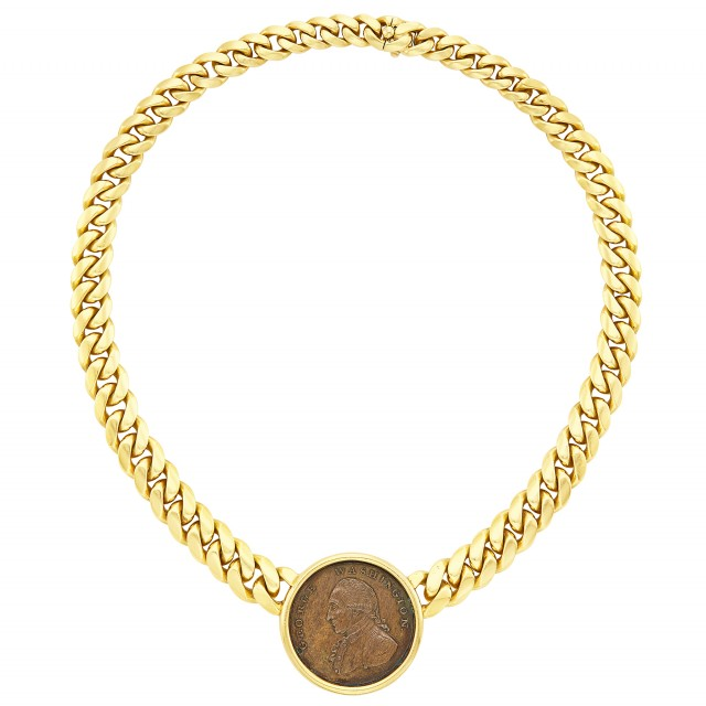 Gold and Bronze Coin Curb Link Chain Necklace, Bulgari