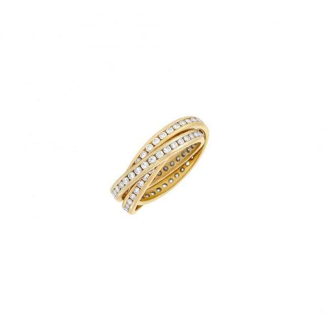 Tricolor Gold and Diamond Interlocking Band Ring