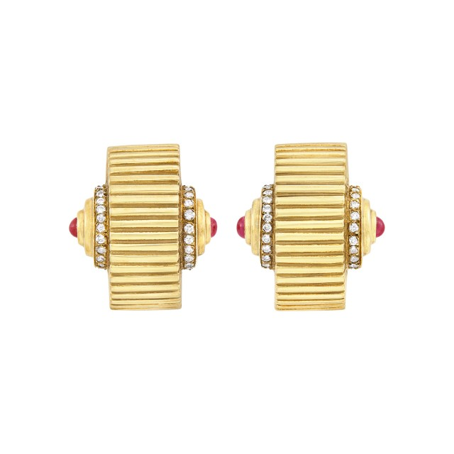 Pair of Retro Gold, Cabochon Ruby and Diamond Earclips