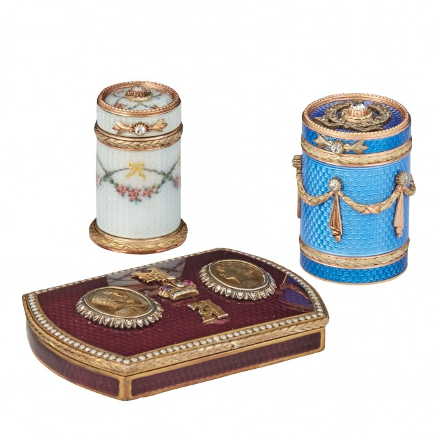 Group of Three Fabergé Style Gold and Enamel Articles