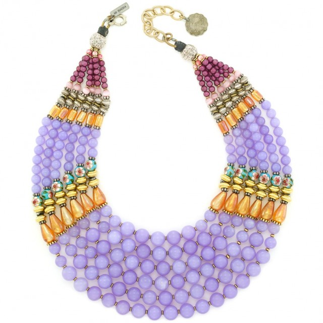 Multicolored Glass and Cloisonné Enamel Bead Necklace