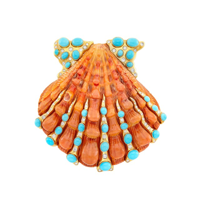 Gold, Orange Shell, Turquoise and Diamond Clip-Brooch, Verdura