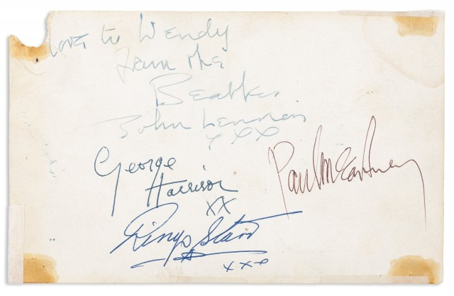 THE BEATLES  Set of Beatles signatures on the verso of a Parlophone promotional postcard, accompanied by an authentication letter by Frank Caiazzo.