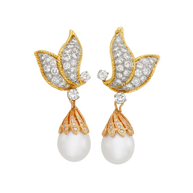 Pair of Tricolor Gold, Diamond and South Sea Cultured Pearl Pendant-Earclips
