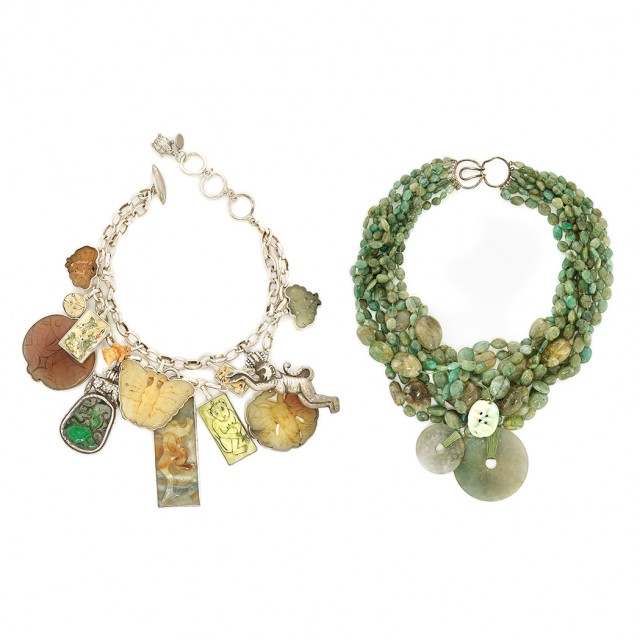 98cfe140d Jade and Green Bead Necklace and Sterling Silver, Jade, Hardstone and  Plastic Necklace