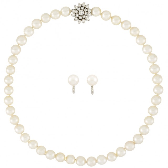 Cultured Pearl Necklace with Platinum and Diamond Clasp and Pair of Earclips