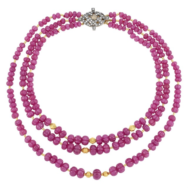 Triple Strand Gold and Fluted Ruby Bead Necklace with Silver, Gold and Diamond Clasp
