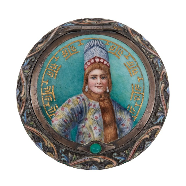 Russian Silver-Gilt, Cloisonné and Pictorial Enamel Pill Box