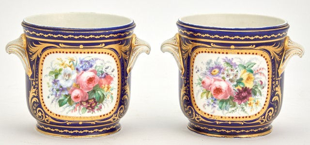 Pair of Sèvres Style Cobalt Ground Porcelain Small Jardinieres