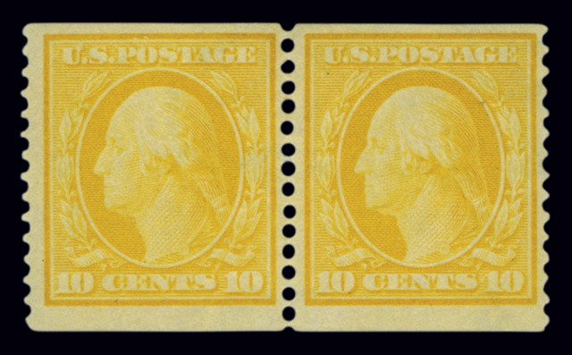 United States 1909 10 Cent Yellow Coil Pair, Scott 356