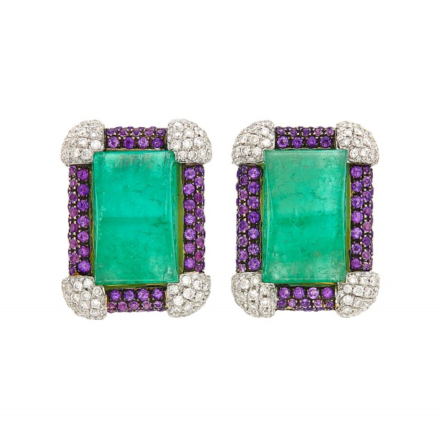 Pair of Gold, Platinum, Cabochon Emerald, Amethyst and Diamond Earclips, Michele della Valle