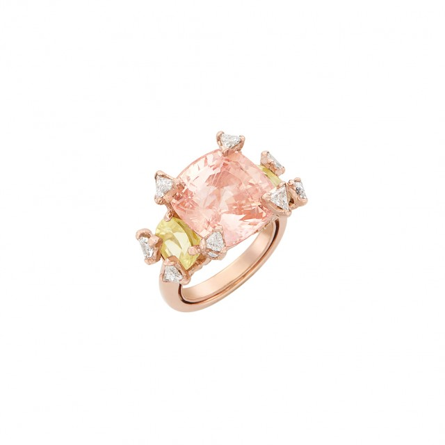 Rose Gold-Plated Platinum, Padparadscha Sapphire, Yellow Sapphire and Diamond Ring