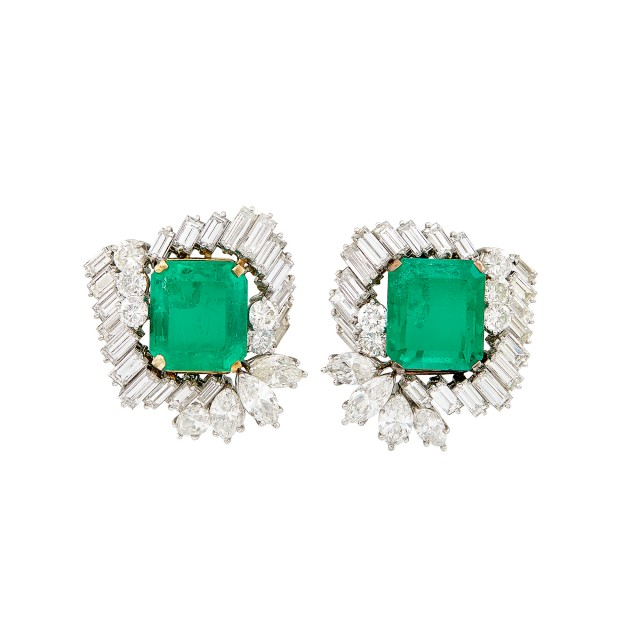 Pair of Platinum, Gold, Emerald and Diamond Earrings