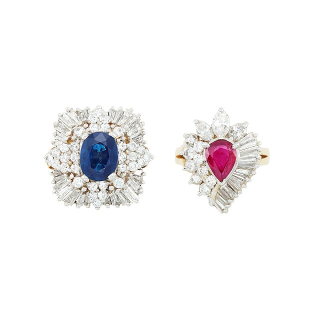Two Two-Color Gold, Ruby, Sapphire and Diamond Rings