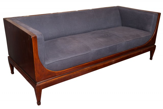 Contemporary Upholstered Mahogany Sofa
