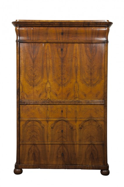 Biedermeier Walnut Cabinet with Shelved Interior