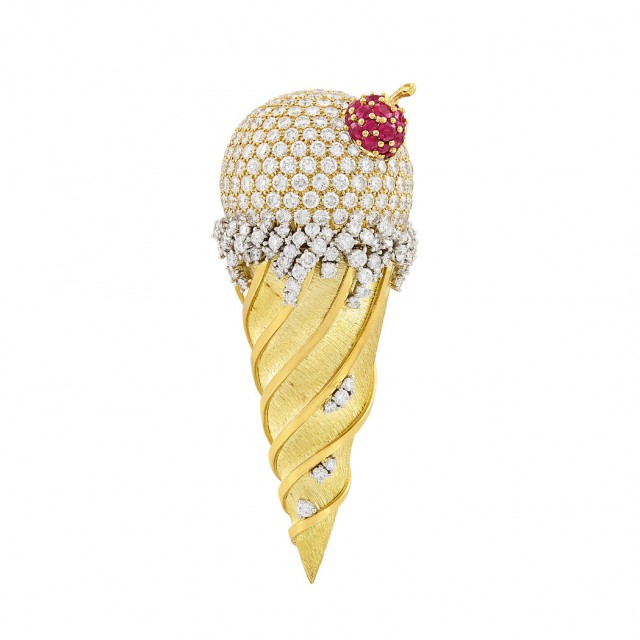 Gold, Platinum, Diamond and Ruby Ice Cream Cone Clip-Brooch, Kurt Wayne