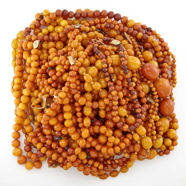 Group of Amber Bead Necklaces