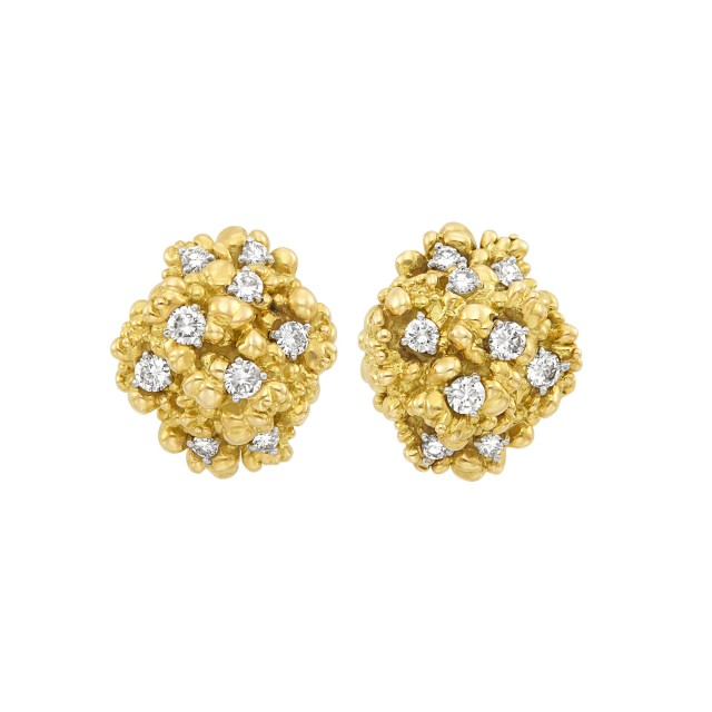 Pair of Nugget Gold and Diamond Cluster Earrings, Cartier, France