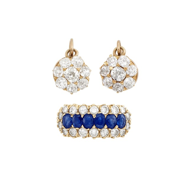 Pair of Antique Gold and Diamond Earrings and Sapphire and Diamond Ring