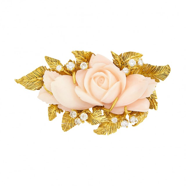 Gold, Carved Angel Skin Coral Flower and Diamond Barrette