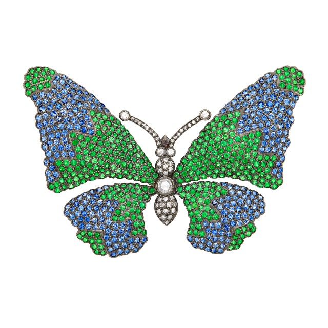 White Gold, Sapphire, Tsavorite Garnet and Diamond Butterfly Brooch
